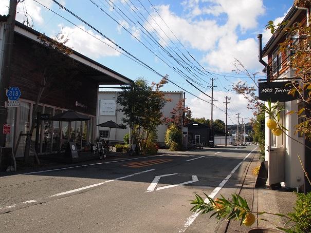 公道の左右にドロフィーズの施設がいっぱい。
